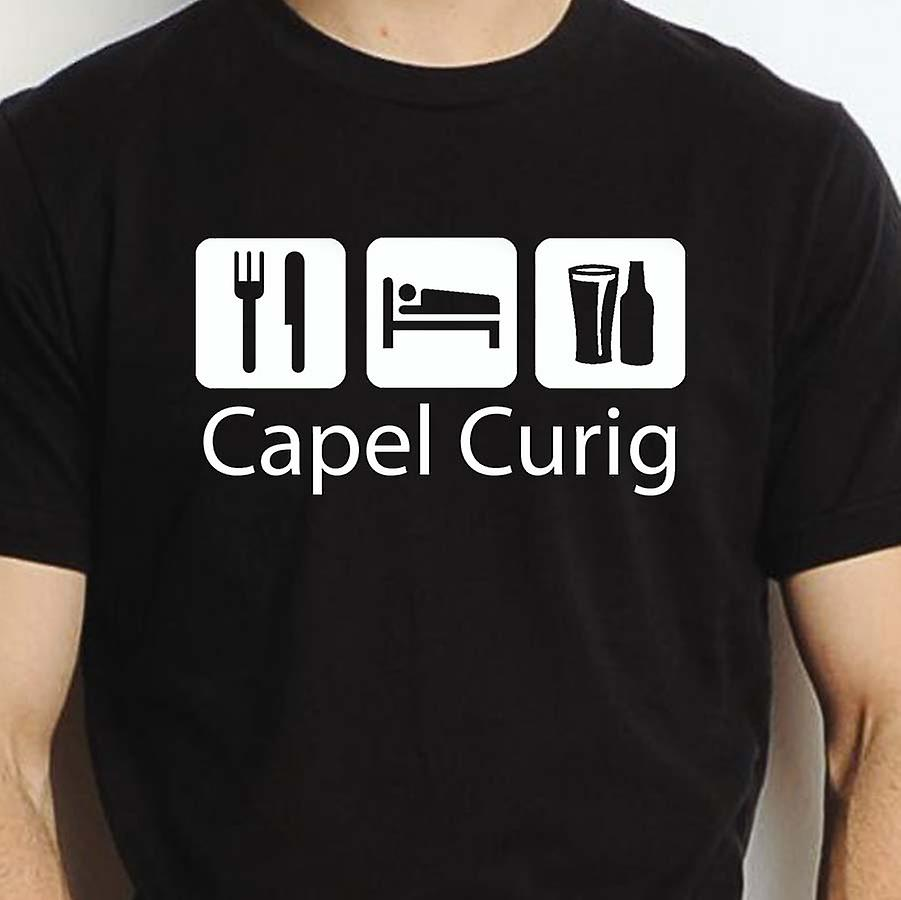 Eat Sleep Drink Capelcurig Black Hand Printed T shirt Capelcurig Town