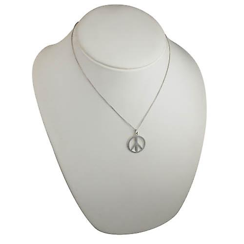 Silver 23mm round plain Ban the Bomb Pendant with a curb Chain 18 inches