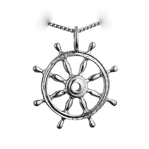Silver 28mm solid Ships wheel Pendant with a Curb chain