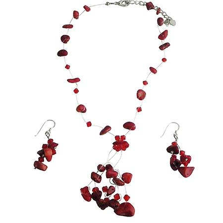 Coral Floating Necklace Set w/ Siam Red Crystal Tassel Drop Hndcrafted Jewelry w/ Sterling Earrings