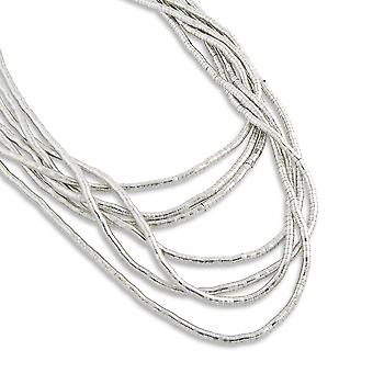 PEARLS FOR GIRLS jewelry 7-layered ladies necklace made of silver plated metal
