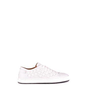 Santoni White Leather Sneakers