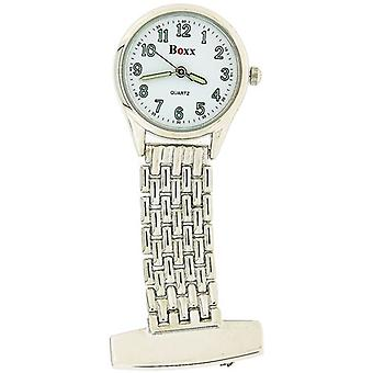 Boxx Ladies - Gents White Dial Silver Tone Case Professional Nurses Fob Watch