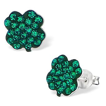 Lucky Clover Sterling Silver and Crystal Stud Earrings