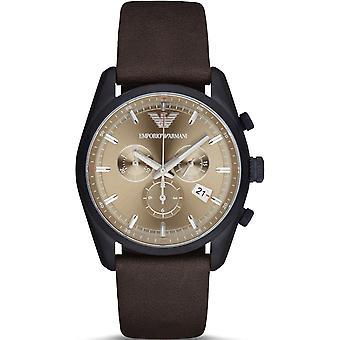 Emporio Armani Ar6078 Beige Sunray Dial Leather Strap Men's Watch