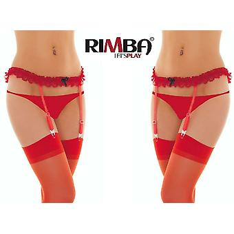 Rimba Lingerie' Red Suspender/Garter Belt With Stockings And Bow (R1423)