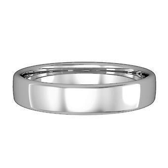 Jewelco London 9ct White Gold - 4mm Essential Bombe Court-Shaped Band Commitment / Wedding Ring