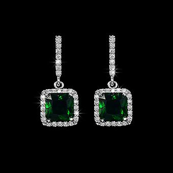 18K Gold Plated Emerald Green Square Cubic Zirconia Earrings, 2.2cm