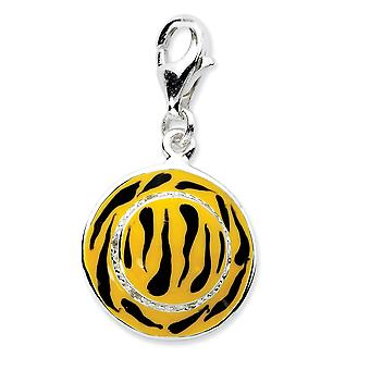 925 Sterling Silver Rhodium-plated Fancy Lobster Closure Click-on Cubic Zirconia Enamel Tiger Hat Charm - Measures 26x14