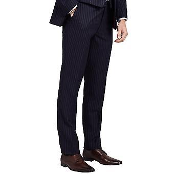 Dobell Mens Navy bukse skreddersydd passform kritt Stripe