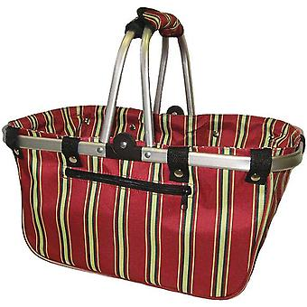 Janetbasket Red Stripes Large Aluminum Frame Basket 18