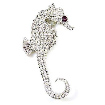 Kenneth Jay Lane Large Crystal & Silver Seahorse Brooch Pin
