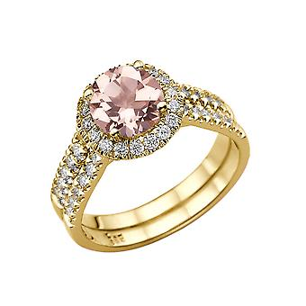 2.50 CTW natural peach/pink VS Morganite Ring with Diamonds 14k Yellow Gold Halo Double Shank