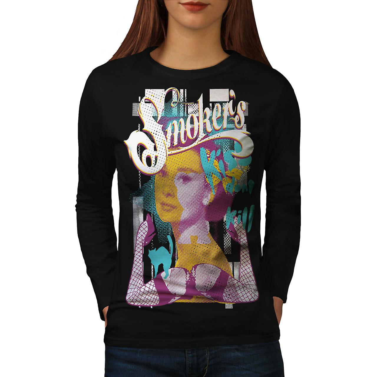 Smoker Kiss Dont Kill Audrey Leg Women Black Long Sleeve T-shirt | Wellcoda