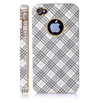 Abdeckung aus Kunststoff und Leder, mit Streifen und Gold Basis für iPhone 4/4 s