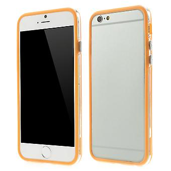 Bumper in TPU rubber and hard plastic for Apple iPhone 6 4.7 (Orange + transparent)