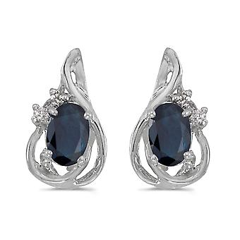 10k White Gold Oval Sapphire And Diamond Teardrop Earrings