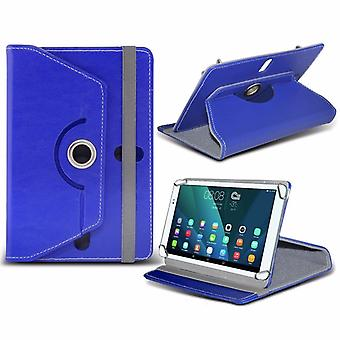 iTronixs - Alcatel Onetouch Pixi 4 (7 inch) Tablet Case PREMIUM PU 360 Rotating Leather Wallet Folio Faux 4 Springs Stand - Blue