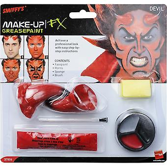 Smiffys Devil Make Up Kit Red Horns Halloween Fancy Dress Costume Accessory