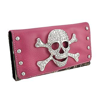 Rhinestone Skull and Crossbones Forest Camo Wallet