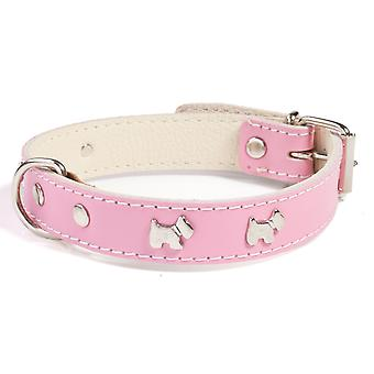 Doggy Things Westie Leather Dog Collar Light Pink 35cm