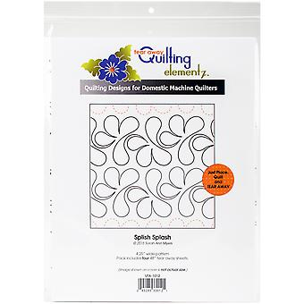 Quilting Creations Printed Tear Away Quilting Paper 4/Pkg-Splish Splash 4.25