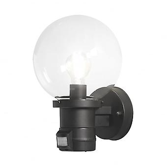 Konstsmide Nemi Black Wall Light With PIR Motion Sensor