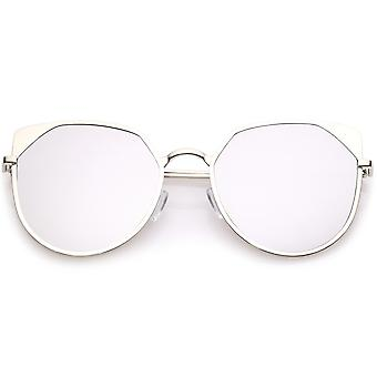 Women's Oversize Cat Eye Sunglasses With Colored Mirror Flat Lens 59mm