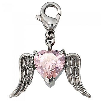 Single pendants charms angel wing CLAUDINE stainless steel Crystal