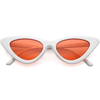 Womens übertrieben schlanke weiße Rahmen Cat Sonnenbrille Farbe getönt Augenlinse 48mm