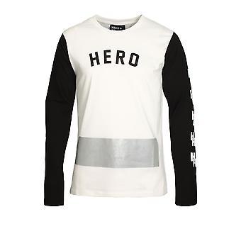 HERO'S HEROINE Long Sleeve Long Line Mono T-Shirt | White