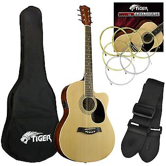 Tiger Electro Acoustic Guitar Package for Beginners - Natural