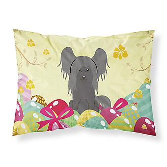 Easter Eggs Chinese Crested Black Fabric Standard Pillowcase
