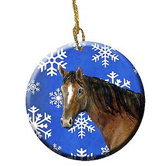 Carolines Treasures  SB3143CO1 Horse Winter Snowflakes Holiday Ceramic Ornament