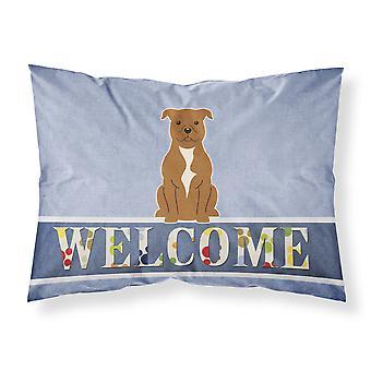 Staffordshire Bull Terrier braun willkommen Stoff Standard Kissenbezug