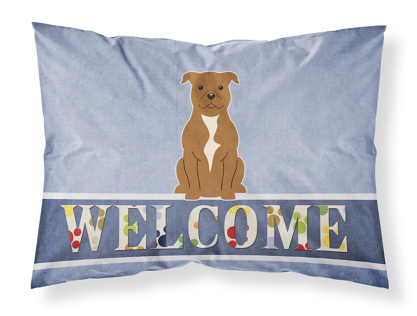 Staffordshire Terrier Marron Standard Bull Bienvenue D'oreiller Taie Tissu 7ymY6vbfIg