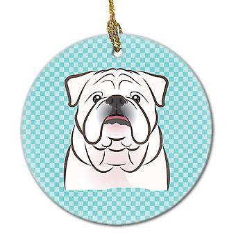 Damier bleu blanc English Bulldog ornement céramique