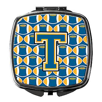 Carolines Treasures  CJ1077-TSCM Letter T Football Blue and Gold Compact Mirror