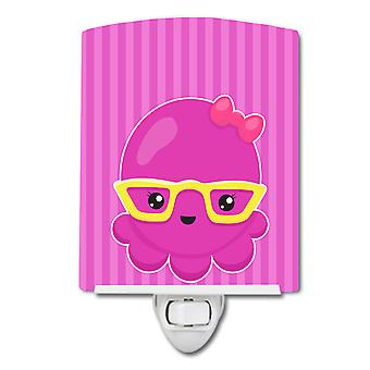 Nautical Pink Octopus with Glasses Ceramic Night Light