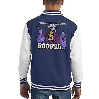 He Man Skeletor Surrounded By Boobs Kid's Varsity Jacket