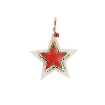 CGB Giftware Christmas Wood and Metal Star Hanging Decoration