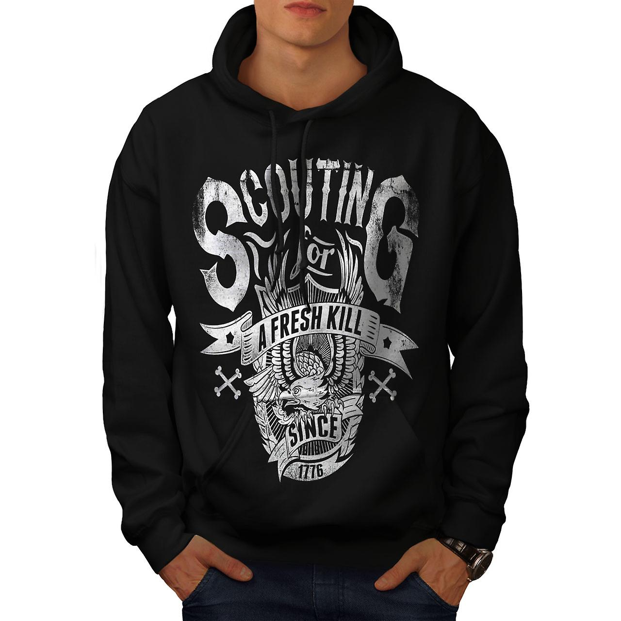Scouting For Kill Vintage Men Black Hoodie | Wellcoda