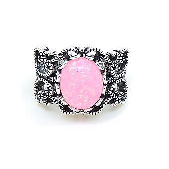 Mallory Pink Oval Shape Lab Created Fire Opal Ring - Ginger Lyne Collection