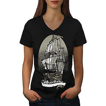Ship Old Sail Sea Fantasy Women BlackV-Neck T-shirt | Wellcoda