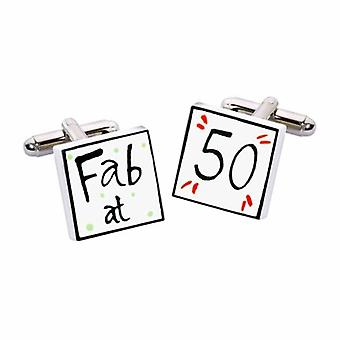 Fab at 50 Cufflinks by Sonia Spencer, in Presentation Gift Box. Hand painted