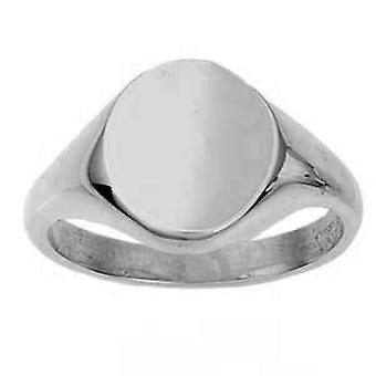 Silver 14x12mm plain solid oval Signet Ring Size W