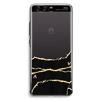 Huawei P10 Transparent Cover (Soft) - Gold marble