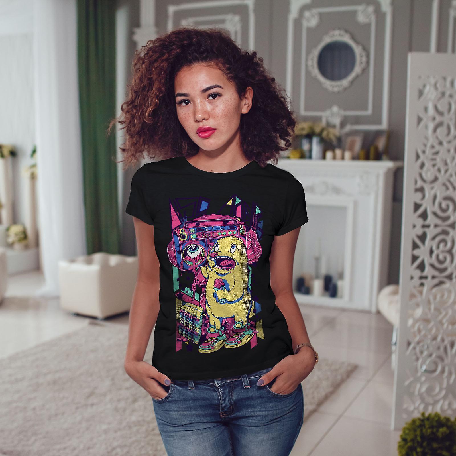 Monstruo Boom Box música mujeres BlackT-camisa   Wellcoda