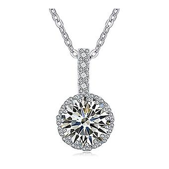 Beautiful Womens Clear Large Crystal Pendant Necklace Silver BG1350