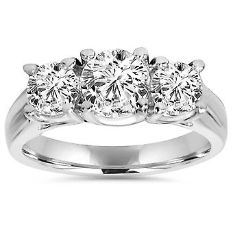 1 1 / 4ct drei Stein Diamant-Verlobungsring Platin